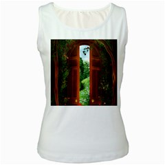Beautiful World Entry Door Fantasy Women s White Tank Top