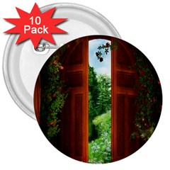 Beautiful World Entry Door Fantasy 3  Buttons (10 Pack)