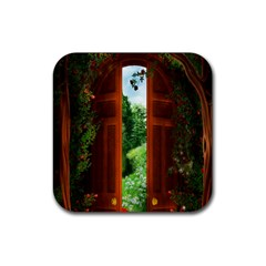 Beautiful World Entry Door Fantasy Rubber Square Coaster (4 Pack)