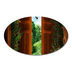Beautiful World Entry Door Fantasy Oval Magnet