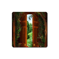 Beautiful World Entry Door Fantasy Square Magnet