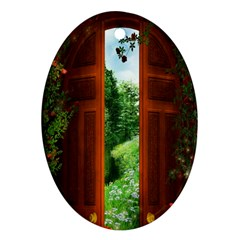 Beautiful World Entry Door Fantasy Oval Ornament (Two Sides)