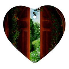 Beautiful World Entry Door Fantasy Heart Ornament (two Sides)