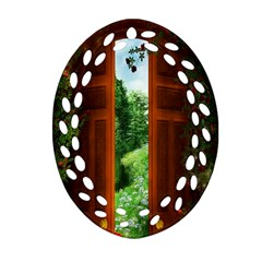 Beautiful World Entry Door Fantasy Oval Filigree Ornament (two Sides)