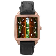 Beautiful World Entry Door Fantasy Rose Gold Leather Watch