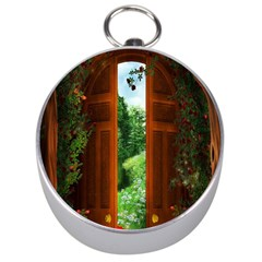 Beautiful World Entry Door Fantasy Silver Compasses