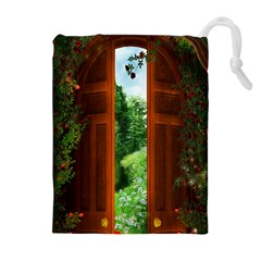Beautiful World Entry Door Fantasy Drawstring Pouches (extra Large)