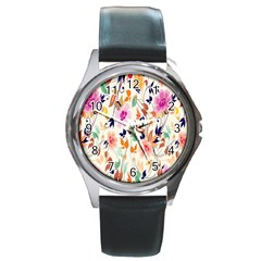 Vector Floral Art Round Metal Watch