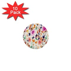 Vector Floral Art 1  Mini Buttons (10 Pack)