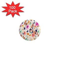 Vector Floral Art 1  Mini Magnets (100 Pack)
