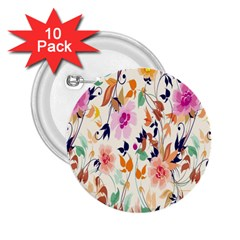 Vector Floral Art 2.25  Buttons (10 pack)