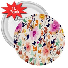 Vector Floral Art 3  Buttons (10 Pack)