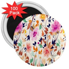 Vector Floral Art 3  Magnets (100 pack)