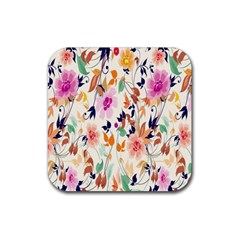 Vector Floral Art Rubber Square Coaster (4 Pack)