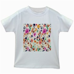 Vector Floral Art Kids White T Shirts