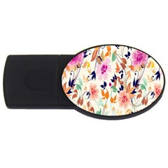 Vector Floral Art Usb Flash Drive Oval (2 Gb)