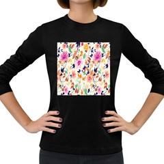 Vector Floral Art Women s Long Sleeve Dark T Shirts