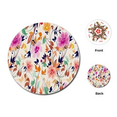 Vector Floral Art Playing Cards (Round)