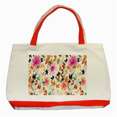 Vector Floral Art Classic Tote Bag (red)