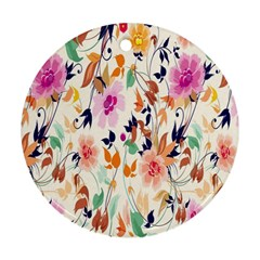 Vector Floral Art Round Ornament (two Sides)
