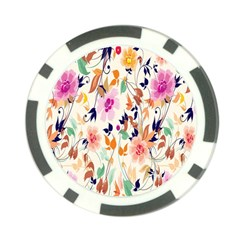 Vector Floral Art Poker Chip Card Guard