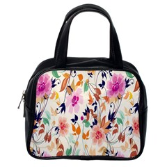 Vector Floral Art Classic Handbags (one Side)