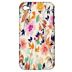 Vector Floral Art Apple iPhone 4/4S Hardshell Case (PC+Silicone)