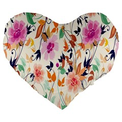 Vector Floral Art Large 19  Premium Heart Shape Cushions