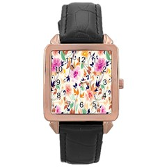 Vector Floral Art Rose Gold Leather Watch