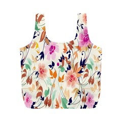 Vector Floral Art Full Print Recycle Bags (m)