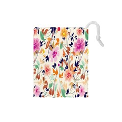 Vector Floral Art Drawstring Pouches (small)