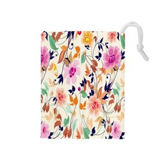 Vector Floral Art Drawstring Pouches (medium)