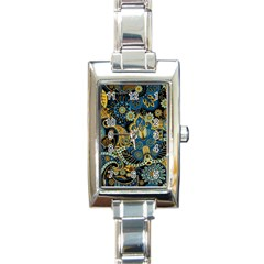 Retro Ethnic Background Pattern Vector Rectangle Italian Charm Watch
