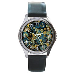 Retro Ethnic Background Pattern Vector Round Metal Watch