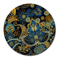 Retro Ethnic Background Pattern Vector Round Mousepads