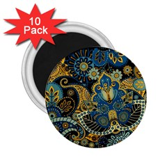 Retro Ethnic Background Pattern Vector 2 25  Magnets (10 Pack)