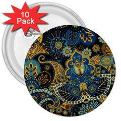 Retro Ethnic Background Pattern Vector 3  Buttons (10 Pack)