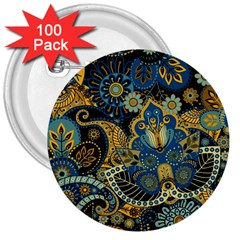 Retro Ethnic Background Pattern Vector 3  Buttons (100 pack)