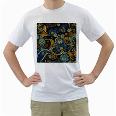 Retro Ethnic Background Pattern Vector Men s T Shirt (white) (two Sided)