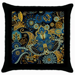 Retro Ethnic Background Pattern Vector Throw Pillow Case (black)