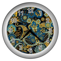 Retro Ethnic Background Pattern Vector Wall Clocks (Silver)