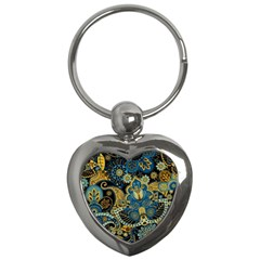 Retro Ethnic Background Pattern Vector Key Chains (heart)
