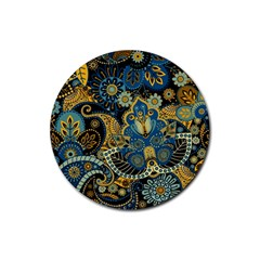 Retro Ethnic Background Pattern Vector Rubber Round Coaster (4 Pack)