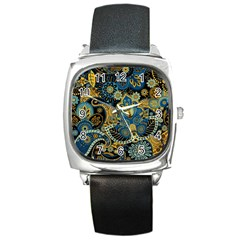 Retro Ethnic Background Pattern Vector Square Metal Watch