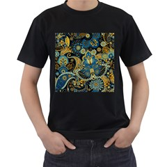 Retro Ethnic Background Pattern Vector Men s T-Shirt (Black) (Two Sided)