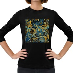 Retro Ethnic Background Pattern Vector Women s Long Sleeve Dark T Shirts
