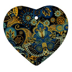 Retro Ethnic Background Pattern Vector Heart Ornament (two Sides)