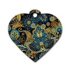 Retro Ethnic Background Pattern Vector Dog Tag Heart (Two Sides)