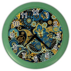 Retro Ethnic Background Pattern Vector Color Wall Clocks