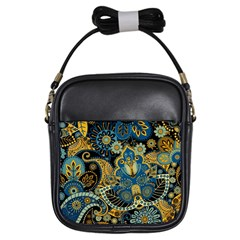 Retro Ethnic Background Pattern Vector Girls Sling Bags